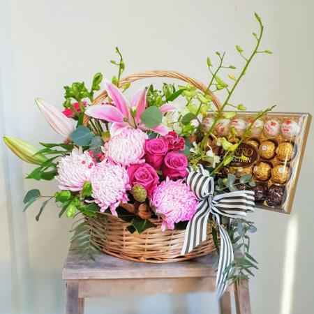 Choc N Flower Basket